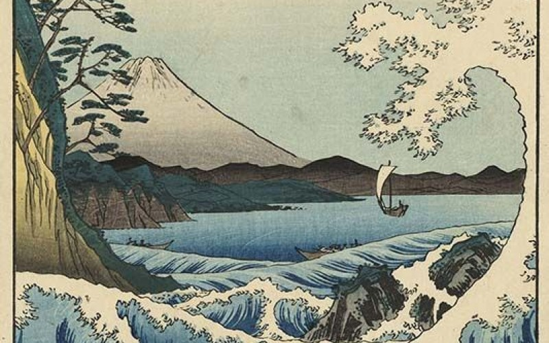 Utagawa Hiroshige - Il mare di Satta nella  provincia di Suruga - 1858 Serie: Trentasei vedute del Fuji, 1858, quarto mese - 374 x 253 mm - silografia policroma  Museum of Fine Arts, Boston  William Sturgis Bigelow Collection