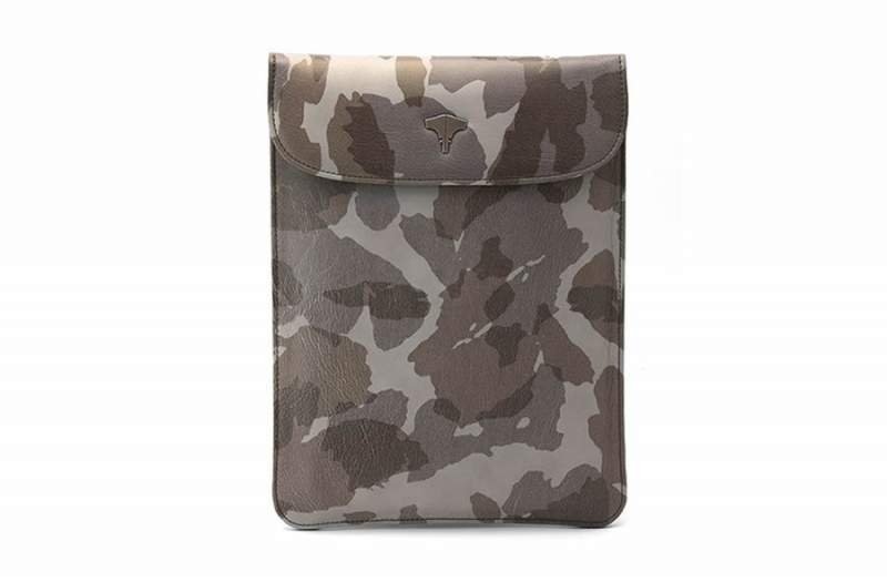 Tablet Bag Real Leather Camouflage Grey