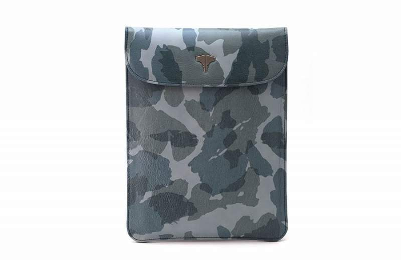 Tablet Bag Real Leather Camouflage Blue Navy