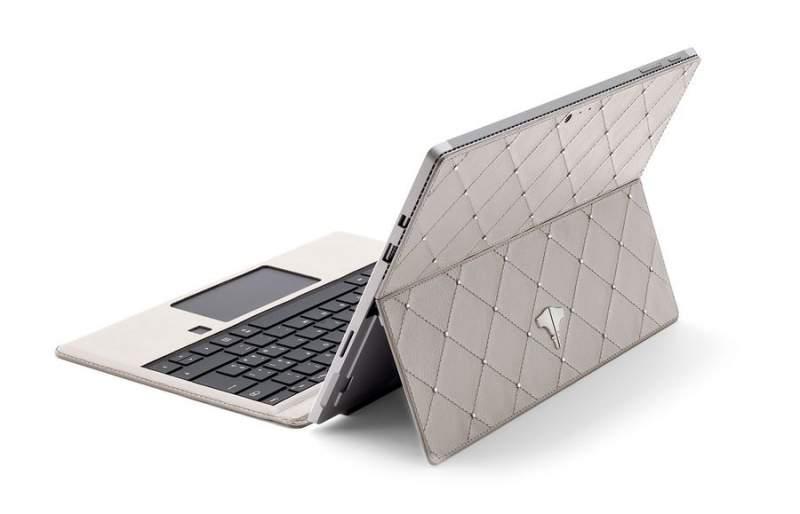 PC Tablet & Real Leather Warm White Swarovski