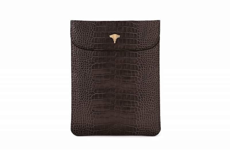 Tablet Bag Real Crocodile Brown