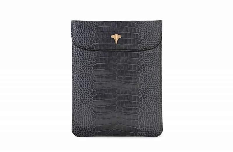Tablet Bag Real Crocodile Grey