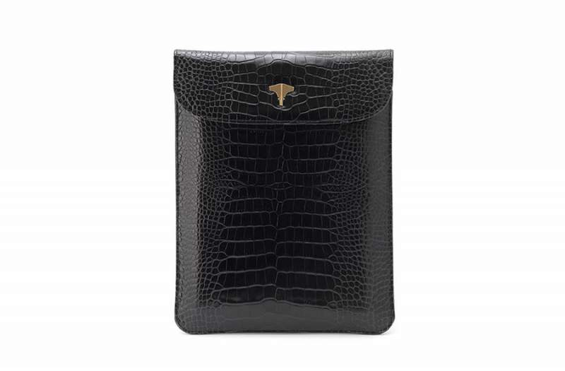 Tablet Bag Real Crocodile Black