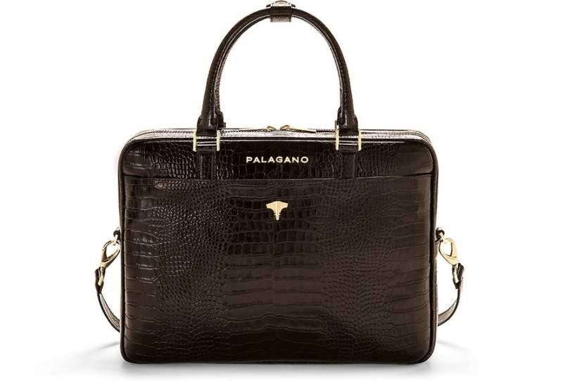 Briefcase Real Crocodile Brown