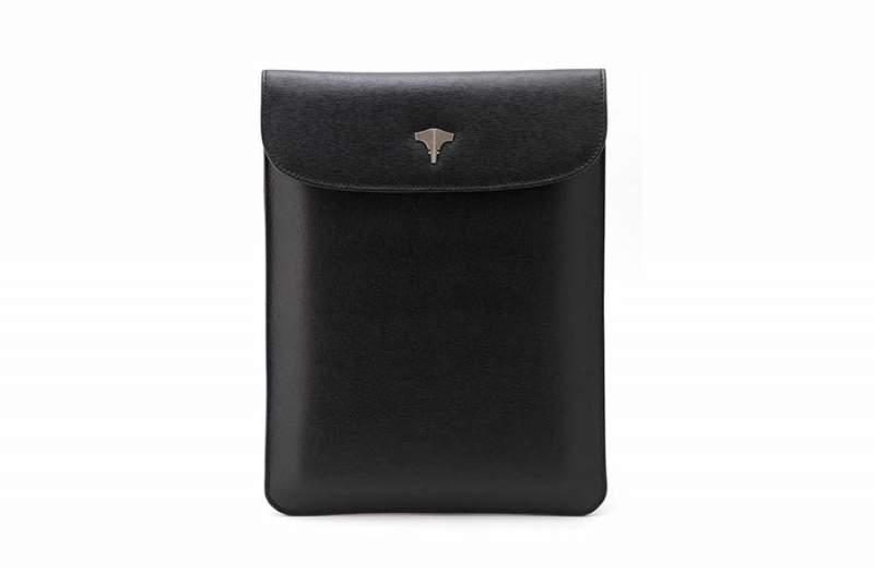 Tablet Bag Real Leather Saffiano Black